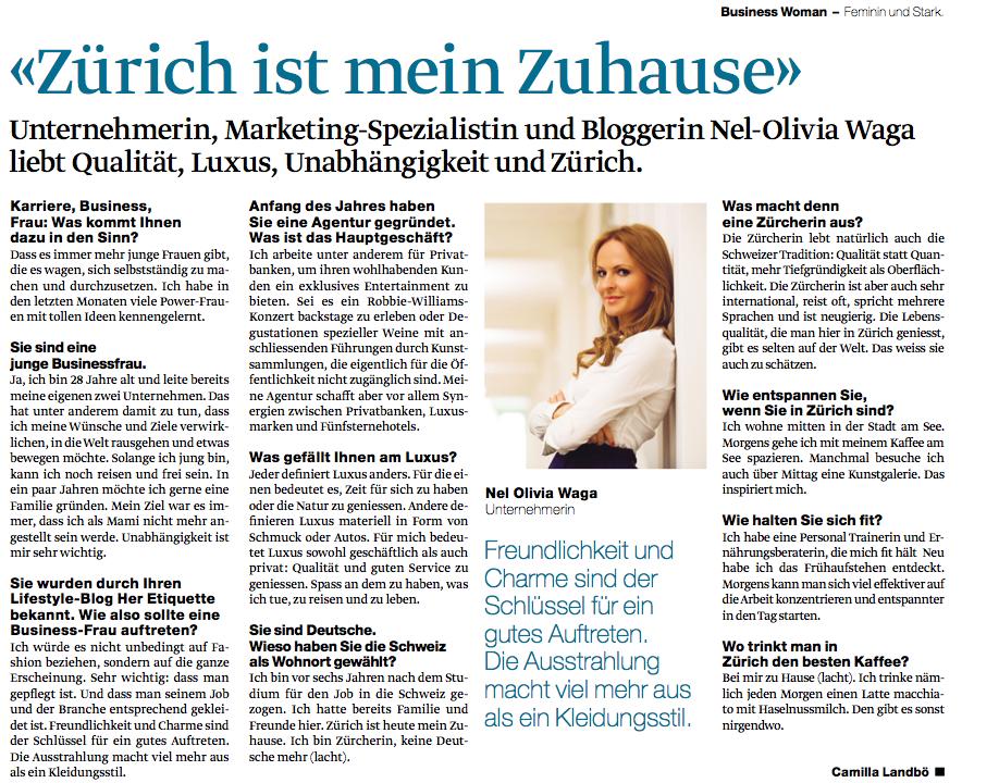 Nel-Olivia Waga Business Woman Tagesanzeiger Zürich