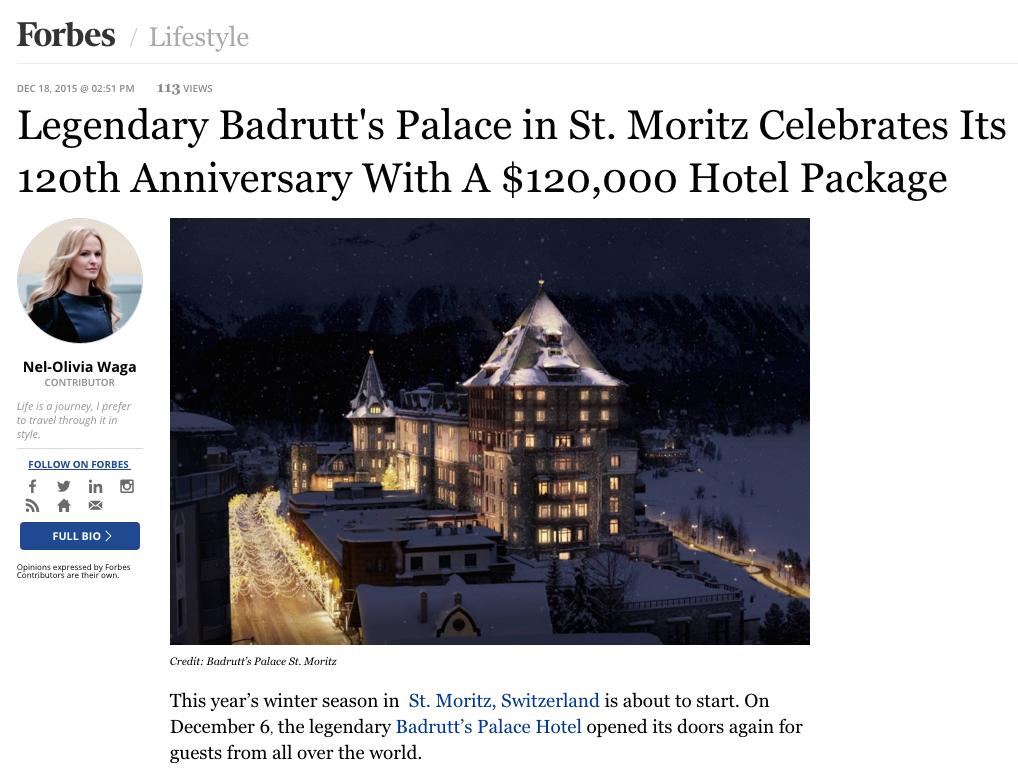 Nel-Olivia Waga Forbes Badrutts Palace St. Moritz