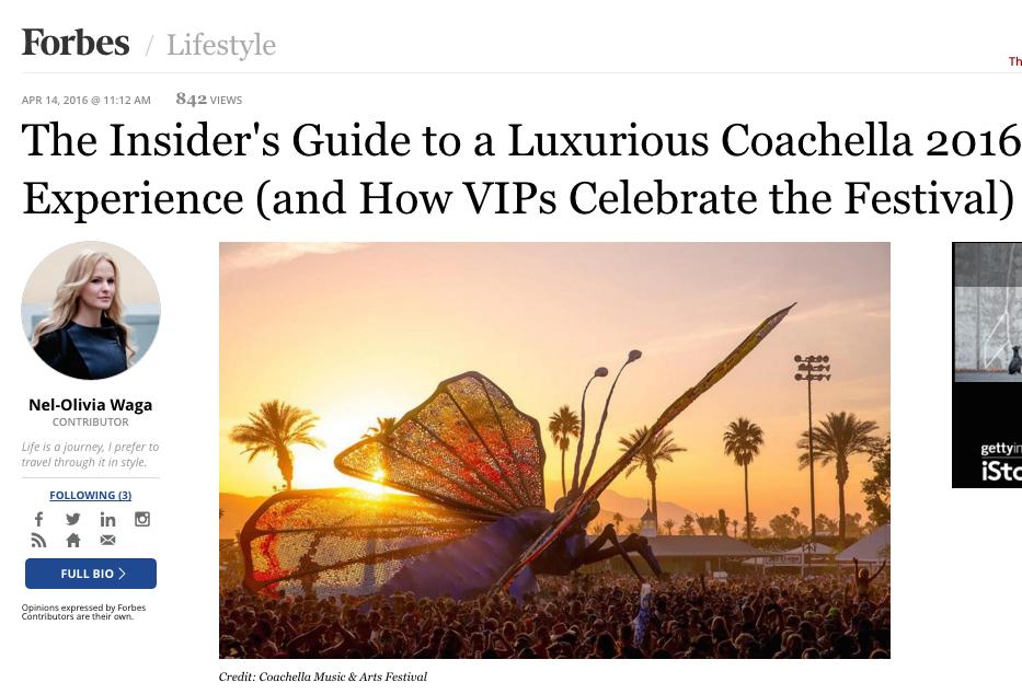 Coachella 2016 VIP Access Nel-Olivia Waga