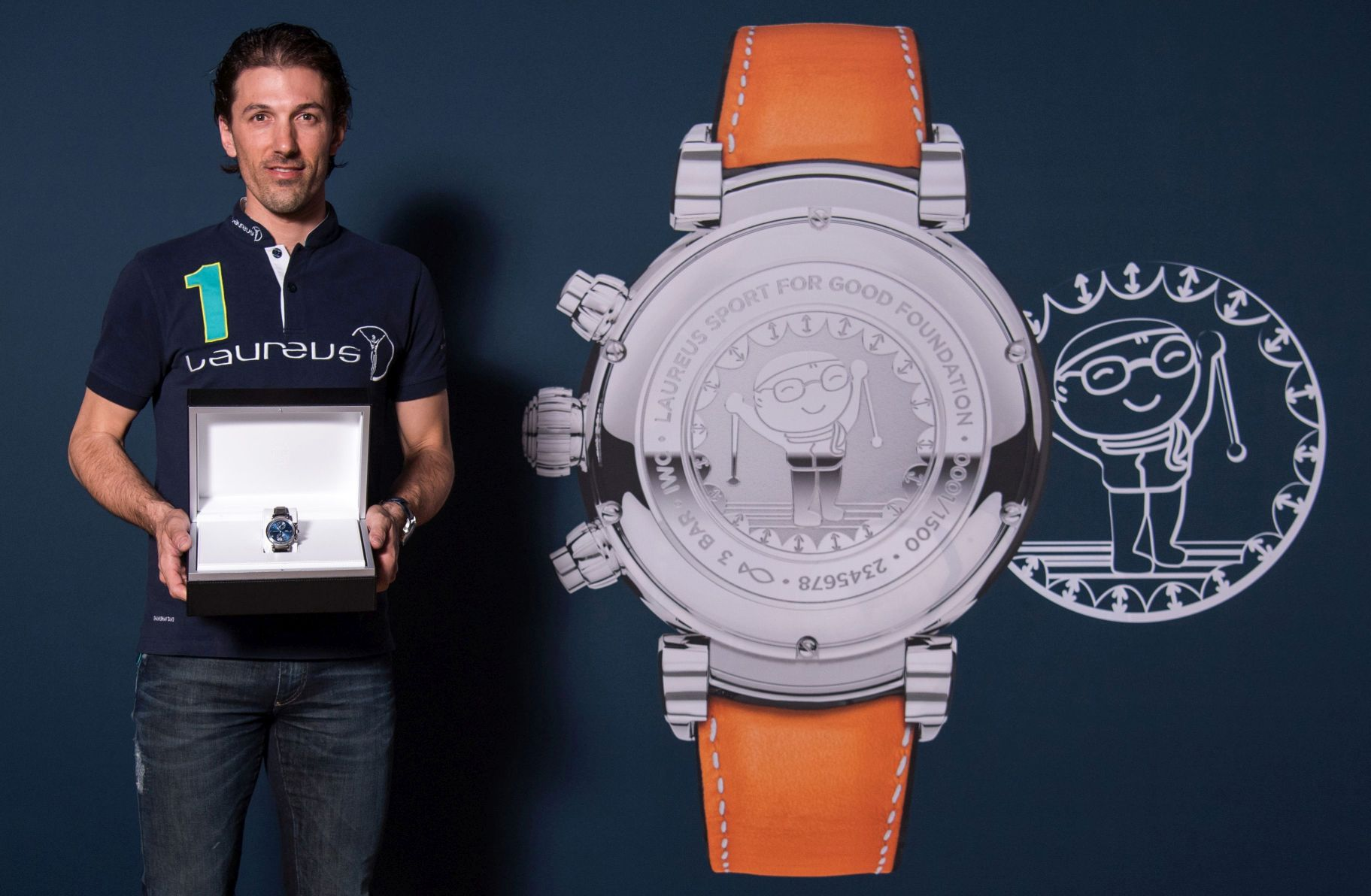 "MONTE CARLO, MONACO - FEBRUARY 13: The new member of the Laureus World Sports Academy is racing cyclist Fabian Cancellara. He received an IWC Da Vinci Chronograph Edition ""Laureus Sport for Good Foundation"" from the new CEO of IWC, Chris Grainger-Herr, February 13, 2017 in Monte Carlo, Monaco. (Photo by Lukas Schulze/IWC Schaffhausen via Getty Images )"