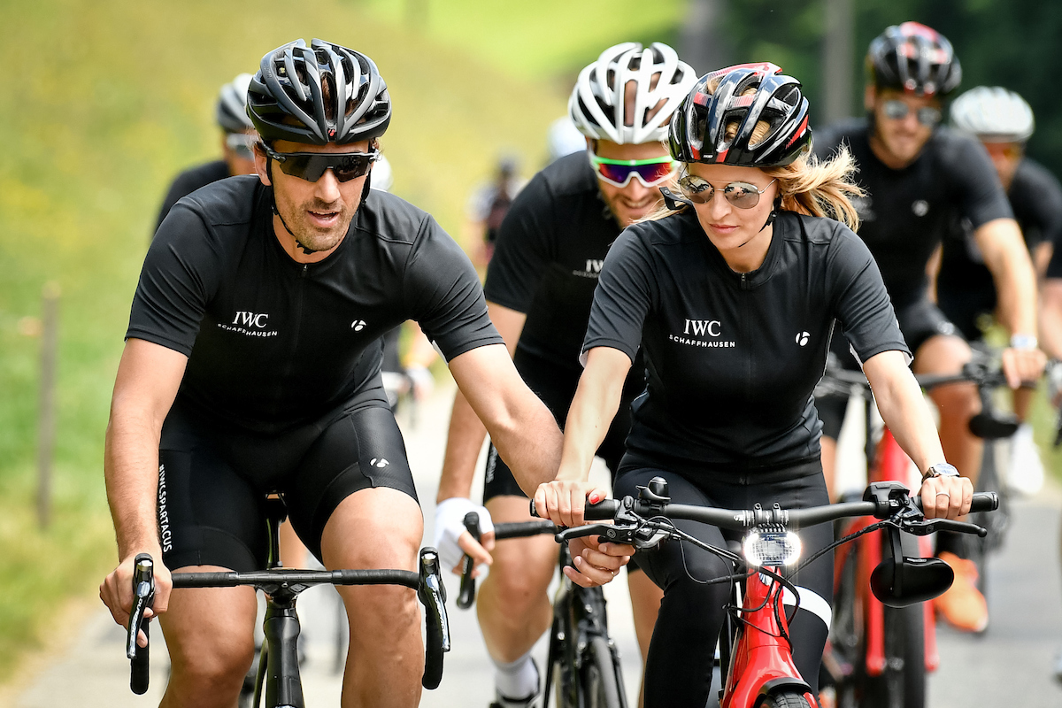 BERN, SWITZERLAND - JUNE 28:  Fabian Cancellara and Nel-Olivia Waga at the IWC Schaffhausen Fabian Cancellara Spartacus Challenge on June 28, 2017 in Bern, Switzerland.  (Photo by The Image Gate for IWC)