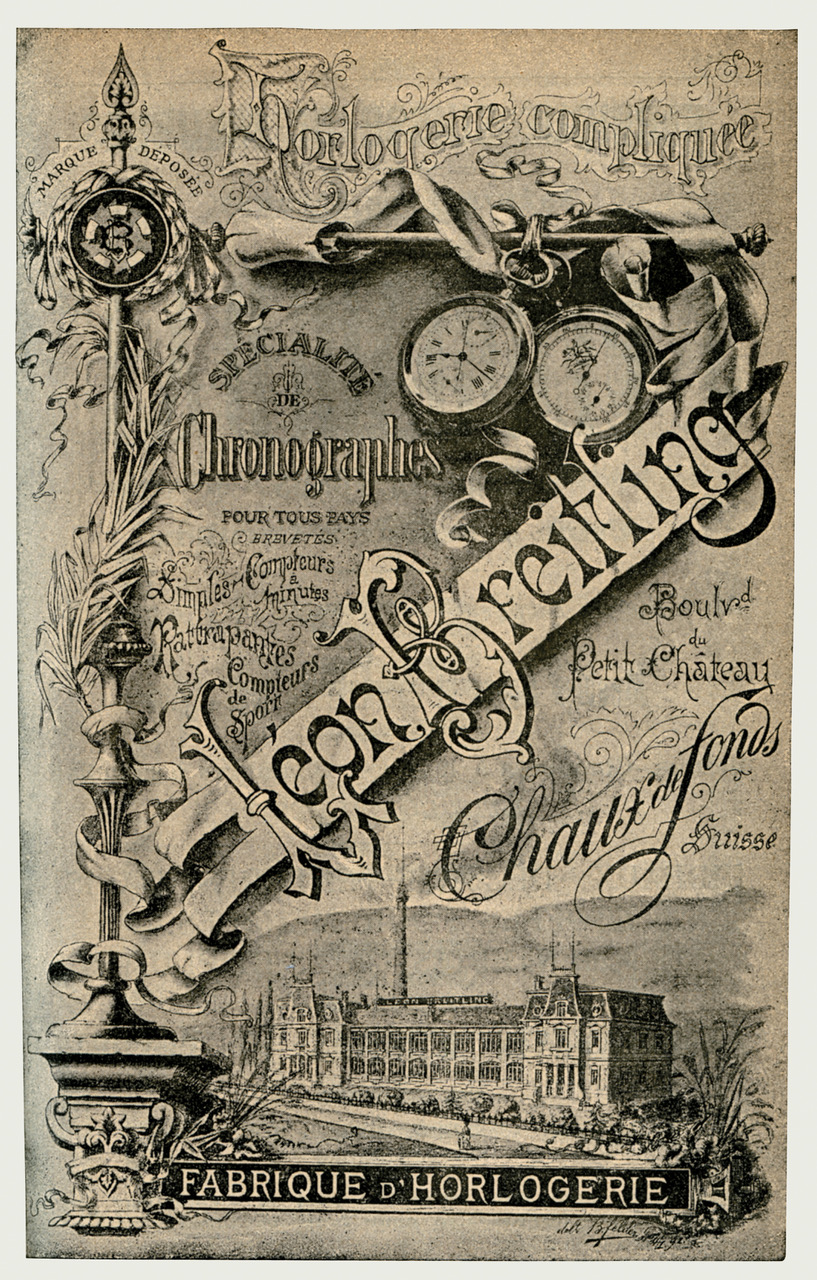 "Breitling advertisement from 1894 with the ""L. Breitling, Montbrillant Watch Manufactory"" in La Chaux-de-Fonds, Switzerland. (PPR/Breitling)"