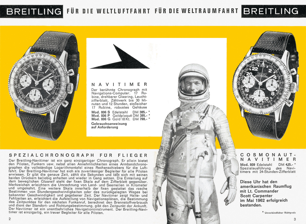 Breitling catalogue from 1964 featuring the Navitimer, the Navitimer Cosmonaute and Lt. Commander Scott Carpenter. (PPR/Breitling)