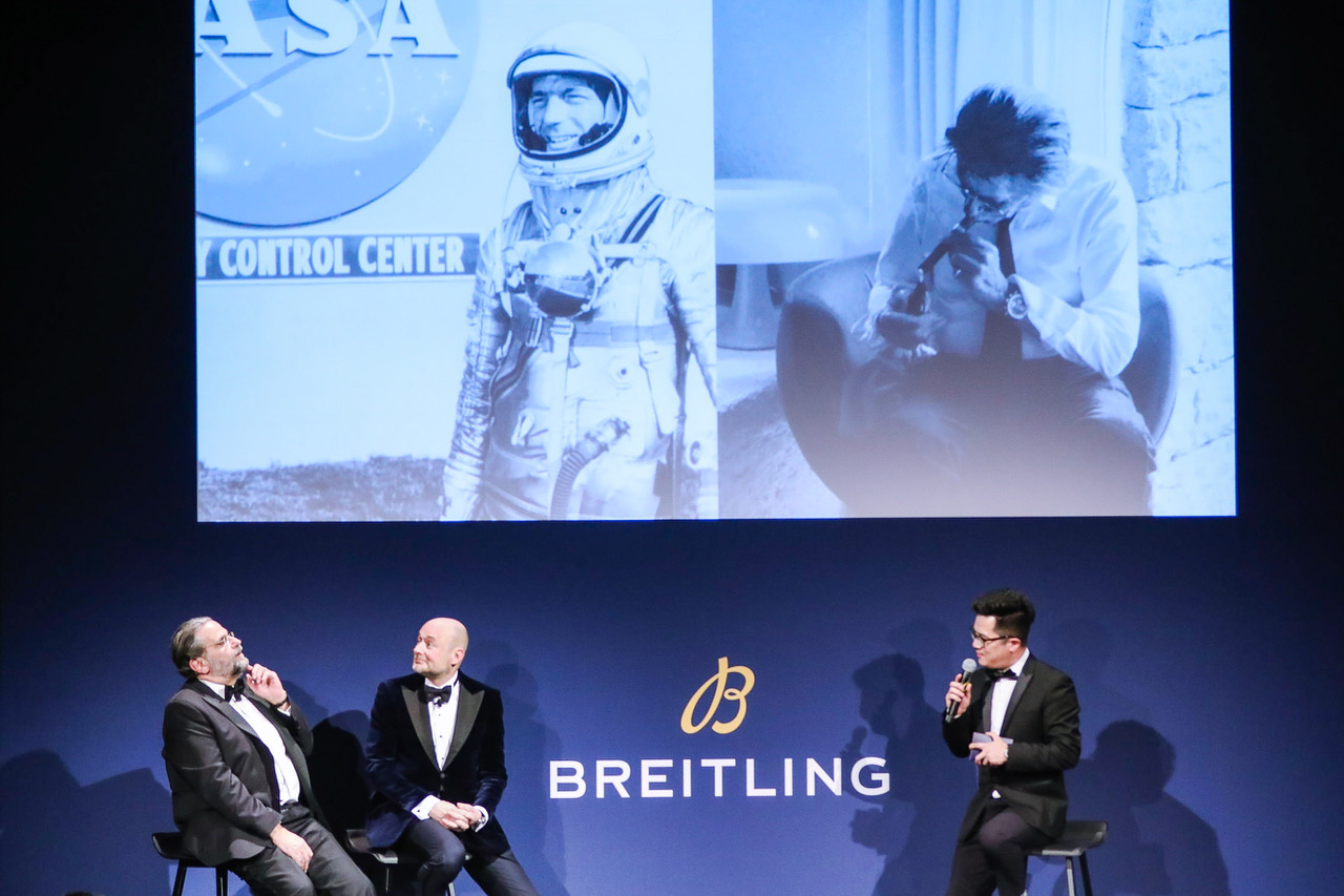 January 29th 2018, Navitimer 8 Roadshow in Shanghai. In the picture: Breitling CEO Georges Kern and Fred Mandelbaum on the stage. (PPR/Breitling)