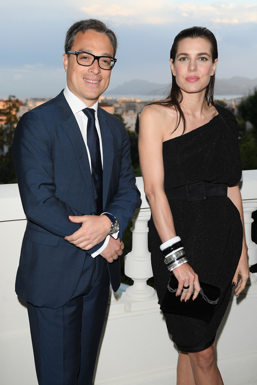 CANNES, FRANCE - MAY 16: CEO of Montblanc, Nicolas Baretzki (L) and Charlotte Casiraghi attend the Montblanc dinner hosted by Charlotte Casiraghi for the collection launch 'Les Aimants at Villa La Favorite on May 16, 2018 in Cannes, France.  (Photo by Daniele Venturelli/Getty Images for MONTBLANC)