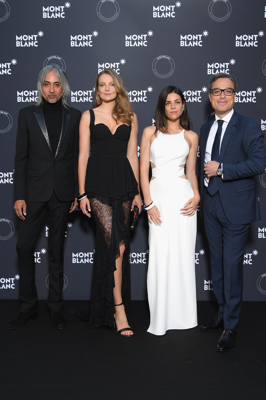CANNES, FRANCE - MAY 16: (L-R) Creative Director of Montblanc, Zaim Kamal, Eniko Mahlik, Julia Restoin Roitfeld and CEO of Montblanc, Nicolas Baretzki attend the Montblanc dinner hosted by Charlotte Casiraghi for the collection launch 'Les Aimants at Villa La Favorite on May 16, 2018 in Cannes, France.  (Photo by Daniele Venturelli/Getty Images for MONTBLANC)
