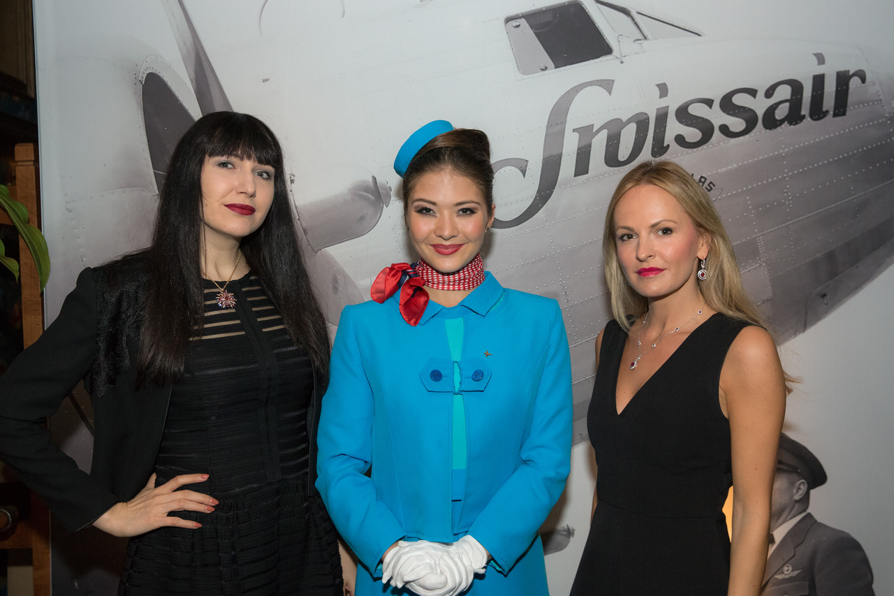 Jewelry Expert Katarina Perez, a Gübelin flight attendant and Nel-Olivia Waga